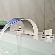 Art Deco/Retro Udspredt LED / Vandfald with  Keramik Ventil To Håndtag tre huller for  Nikkel Børstet , Håndvasken vandhane