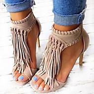 Femme Chaussures Similicuir Printemps Eté Automne Sandales Talon Aiguille Bout ouvert Gland Pour Décontracté Soirée & Evénement Noir
