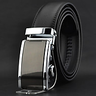 Men Black Leather Simple Automatic Buckle Waist Belt Work / Casual Alloy / Leather All Seasons