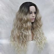 Naisten Synteettiset peruukit Lace Front Pitkä Laineikas Vaaleahiuksisuus Liukuvärjätyt hiukset Tummat juuret Luonnollinen hiusviiva