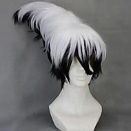 Femme Perruque Synthétique Sans bonnet Court Ondulés Gris noir Coupe Dégradée Coupe Asymétrique Avec Frange Perruque de Cosplay Perruque