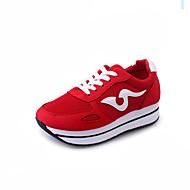 """נשים נעלי אתלטיקה נוחות מגפי נמושה PU סתיו חורף קזו'אל הליכה נוחות מגפי נמושה שרוכים עקב נמוך שחור אדום ס""""מ 2.54 - ס""""מ 4.45"""
