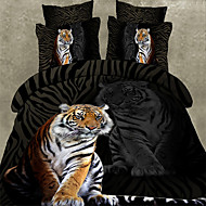 Seturi Duvet Cover Animal 4 Piese Imprimeu reactiv 1pc Plapumă Duvet 2pcs Shams 1pc Cearceaf Plat