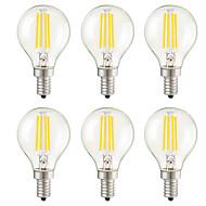 4W E14 E12 E26/E27 Ampoules à Filament LED G45 4 COB 400 lm Blanc Chaud Gradable Décorative AC 100-240 AC 110-130 V 6 pièces
