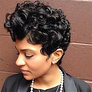 Mulher Perucas de cabelo capless do cabelo humano Preto jet Curto Ondulado Natural Corte Pixie Corte em Camadas Parte lateral Peruca Afro
