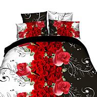 Fleur Ensembles housse de couette 4 Pièces Polyester 3D Imprimé Polyester Lit 2 Places 'Queen'1 pièces (1 housse de couette, 1 drap, 2