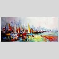 Kézzel festett Absztrakt Vízszintes,Modern Egy elem Vászon Hang festett olajfestmény For lakberendezési