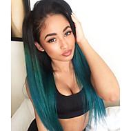 Naisten Synteettiset peruukit Lace Front Suora Vihreä Liukuvärjätyt hiukset Tummat juuret Keskijakaus Luonnollinen hiusviiva Halloween