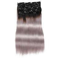 """9pcs / set deluxe 120g 1b / harmaa ombre musta harmaa leikkeen hiusten pidennykset 16"""" 20"""" 100% hiuksista"""