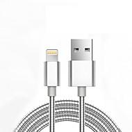 USB 2.0 Gevlochten Normaal Kabel Voor Apple iPhone iPad 98 cm Metaal Aluminium