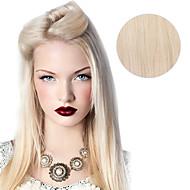 100 % 스트레이트 인간의 머리를 20 인치 16 인치 머리 확장에 9PCS / 설정 디럭스 120g # 60 platium 금발 재 금발 클립