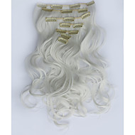 7pcs/Set 130g White 50cm Hair Extension Clip In Synthetic Hair Extensions