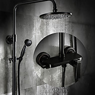 Antique Set de centre Douche pluie with  Soupape céramique Mitigeur Trois trous for  Bronze huilé , Robinet de douche