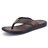 Αντρικό Παντόφλες & flip-flops Ανατομικό PU Άνοιξη Καλοκαίρι Καθημερινό Χάντρες Επίπεδο Τακούνι Μαύρο Καφέ Επίπεδο