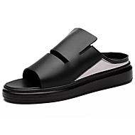 Masculino-Chinelos e flip-flops-Conforto-Rasteiro-Branco Preto-Pele-Casual