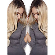 Vrouw Synthetische pruiken Zonder kap Lang Body Golf Blond Zijdeel Ombre-haar Donkere wortels Natuurlijke haarlijn Natuurlijke pruik