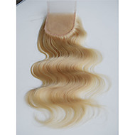 blondi 613 pitsi sulkukappale aalto Brasilian neitsyt Remy hiuksista pitsi sulkemiseen valkaistua solmua 3.5x4 Brasilian pitsitoppi