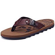 Αντρικό Παντόφλες & flip-flops PU Άνοιξη Καλοκαίρι Χαμηλό Τακούνι Μαύρο Σκούρο καφέ Κάτω από 2,5εκ