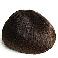 Real Human Hair Thin Skin Men's Toupee Color 2# Hairpiece For Men 6inch Long Human Hair Toupee for Men