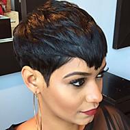 Mulher Perucas de cabelo capless do cabelo humano Preto Curto Liso Com Franjas