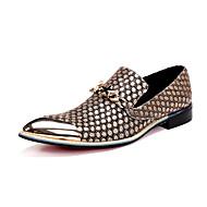 Masculino sapatos Pele Napa Primavera Verão Outono Inverno Conforto Inovador Mocassins e Slip-Ons Caminhada Presilha Bico Metálico Para