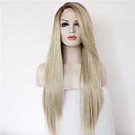 Naisten Synteettiset peruukit Lace Front Pitkä Suora Beige Vaaleahiuksisuus Liukuvärjätyt hiukset Luonnollinen peruukki puku Peruukit