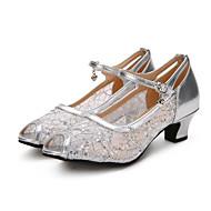 Damer Moderne Blonde Glimtende Glitter Paillette Hæle Sneakers OptrædenPailletter Flæser Spænde Blondebroderi Krøllede Folder Glimtende
