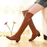 Feminino Sapatos Couro Ecológico Outono Inverno Conforto Botas Salto Grosso Ponta Redonda Com Para Casual Branco Preto Marron