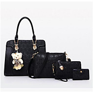 Women Bags All Seasons PU Bag Set with for Casual Outdoor Blue Black Red