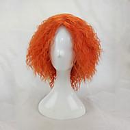 Damen Synthetische Perücken Kappenlos Kurz Kinky Curly Afro-Frisur Orange Cosplay Perücke Kostüm Perücken
