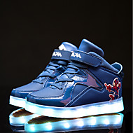Para Meninas Tênis Tênis com LED Pele PVC Outono Inverno Casual Velcro Rasteiro Preto Azul Real Rasteiro