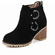 Naiset Kengät PU Syksy Talvi Comfort Bootsit Leveä korko Pyöreä kärkinen Käyttötarkoitus Kausaliteetti Musta Beesi Punainen