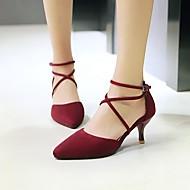 Ženske Cipele na petu Obične salonke Nubuk koža Proljeće Ljeto Kauzalni Sitna potpetica Crn Sive boje Crvena 2.5 cm - 4.5 cm
