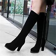 Feminino Sapatos Pele Nobuck Couro Ecológico Outono Inverno Conforto Botas Com Para Casual Preto