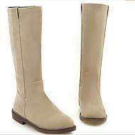 Feminino Sapatos Couro Ecológico Outono Inverno Conforto Botas Rasteiro Ponta Redonda Com Para Casual Preto Bege Marron