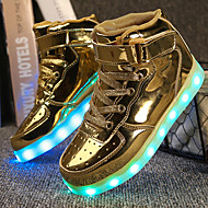 Jongens Sneakers Wandelen Comfortabel Oplichtende schoenen Kunstleer Herfst Winter Sportief Causaal Haak & Lus LED Lage hakGoud Wit Zwart
