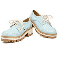 Ženske Oksfordice Udobne cipele PU Proljeće Kauzalni Kockasta potpetica Bež Plava Pink 2.5 cm - 4.5 cm