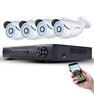 1080p poe 보안 시스템 4pcs 2mp 네트워크 ip 카메라 및 4ch 1080p cctv nvr 지원 onvif