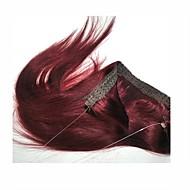 16-22 인치 비밀 와이어 인간의 머리카락 확장 머리카락 80g 다크 와인 99j #