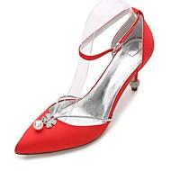 נשים נעלי חתונה נוחות נעלי בובה (מרי ג'יין) שפיץ ושני חלקים בלרינה בייסיק רצועת קרסול סטן אביב קיץ חתונה שמלה מסיבה וערבריינסטון פפיון