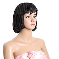 Lyhyt bobin peruukki synteettinen kuumuutta kestävä musta ruskea laatikko punos peruukit musta naisille 10inch