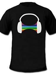 mens acender led t-shirt som padrão de fone de ouvido e música equalizador ativado para raver bar partido