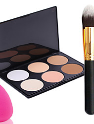 pro puolue 6 väriä kohdata rusketustuotteiden jauhe meikki paletti + jauhe harjalla + power pullistaa