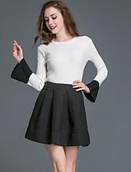 Dámské Jednobarevné Běžné/Denní Jednoduché Sukně Obleky-Podzim Polyester Kulatý Dlouhý rukáv Bílá