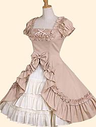 Szoknya Édes Lolita Hercegnő Cosplay Lolita ruhák Rózsaszín Zöld Masni Rövid ujjú Közepes hossz Ruha mert Pamut