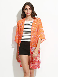 Damen Druck Retro / Einfach Lässig/Alltäglich Bluse,Rundhalsausschnitt ¾-Arm Orange Polyester Mittel