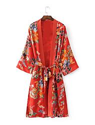 Damen Blumen Street Schick Lässig/Alltäglich Trench Coat,Hemdkragen Frühling Herbst Lange Ärmel Lang Nylon Others Niete