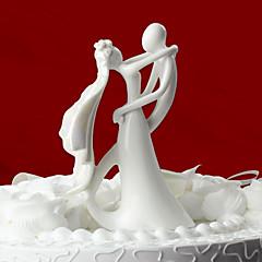 Kakepynt Klassisk Par Keramisk Bryllup Utdrikkingslag Hvit Klassisk Tema Gaveeske