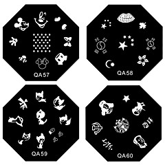 1PCS Nail Art Stamp Leimaaminen Kuvan malli Plate QA Series NO.5-60 (Assorted Pattern)