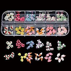 60pcs 12 tyylit sekoita hartsi karkkia ihana DIY kynsikoristeet koriste